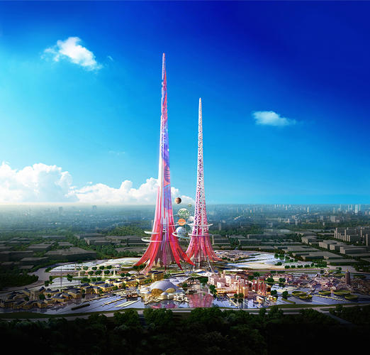Artist impression of the Phoenix Towers to be built in Wuhan China. The towers  will not only run on clean energy, but will give back to the surrounding ecosystem.