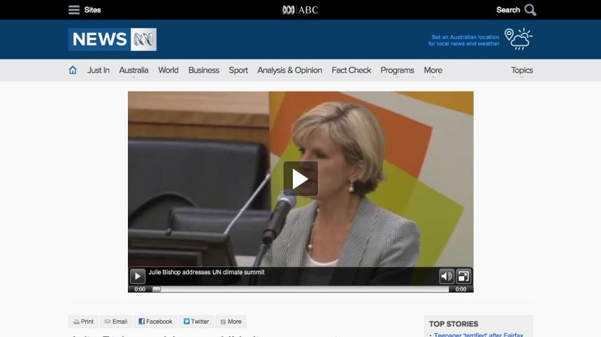 Julie Bishop addresses UN climate summit   ABC News  Australian Broadcasting Corporation